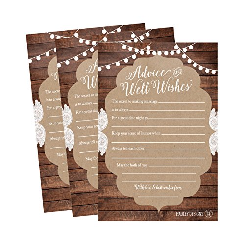 50 4x6 Rustic Wedding Advice & Well Wishes For The Bride and Groom Cards, Reception Wishing Guest Book Alternative, Bridal Shower Games Note Card Marriage Advice Bride To Be, Best Wishes For Mr & Mrs ()