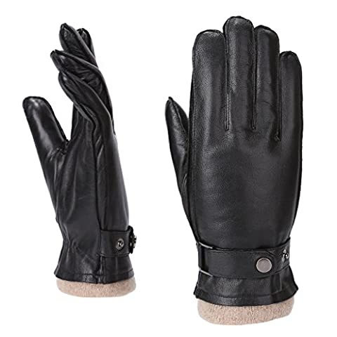 MoDA Mr. Davenport Men's Genuine Leather Driving Gloves Wool Lining - Fur Leather Gloves