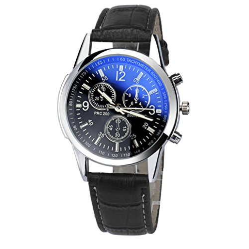 Willsa Luxury Fashion Faux Leather Mens Roman Numeral Business Casual Fashion Analog Watch - Marks Roman Dial