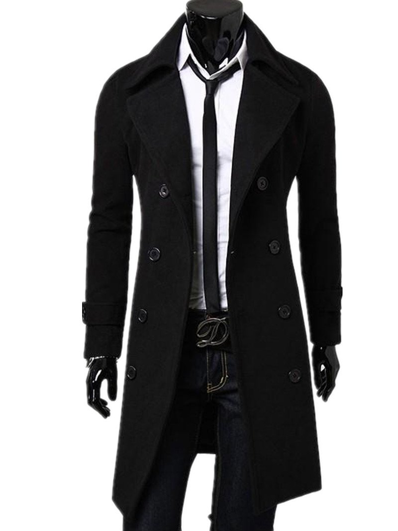 Kalanman Men's Winter Slim Double Breasted Overcoat Long Trench Coat Jacket (US XS(Label M), Black) by Kalanman