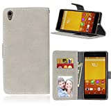 """Sony Xperia Z4(5.2"""")case,Xperia Z3+/Z3 Plus/E6553 case,Bujing Gray Pattern,Premium Nubuck Synthetic Leather+Soft TPU Card Slot Stand Wallet Case Only For Sony Xperia Z4/Z3+/Z3 Plus/E6553(5.2"""")(2015)"""