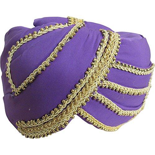 Mens Indian Traditional Wedding Gold Trim Maharaja Turban Ethnic Print No6 -
