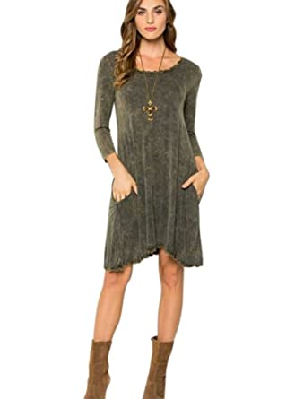 Zen Canyon Long Sleeve Distressed Mineral Washed Shift Swing T-Shirt Dress  with Pockets Lace Trim - Made in USA (Small 41962ecdb