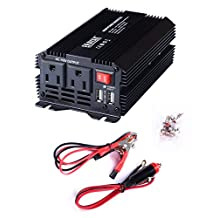 ERAYAK 400W Power Inverter DC12V to AC110V with Dual US Outlets 3.1A Dual USB Charging Ports w/ Car Cigarette Lighter Cable&Battery Clamps Clips Cable - 8094U