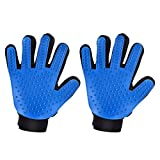 Mpow Pet Grooming Glove, Efficient Dog Hair Remover Mitt Cat Gentle Deshedding Brush Glove, Gentle Massaging Tool with Enhanced Five Finger Design, Perfect for Pets (2 Pack, Right-Handed Only, Blue)