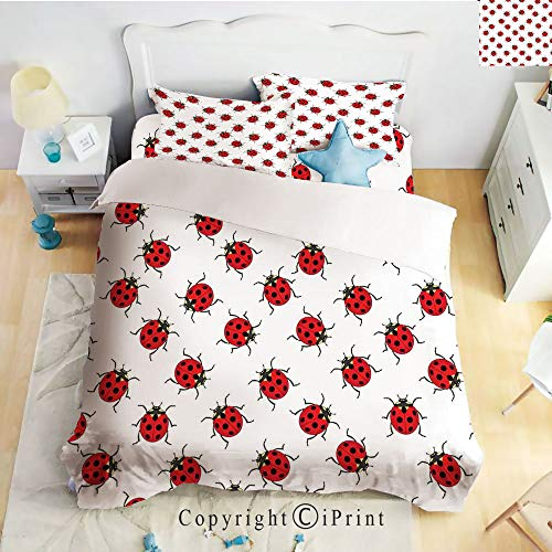 Homenon Bedding 4 Piece Sheet,Ladybugs Pattern Bunch of Bugs Infinite Speckled Marked Insect Theme Playroom Kids,Red White,Full Size,Suitable for Families,Hotels