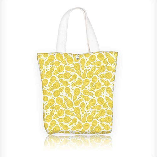as Zipper bag pple Fruitwith Dots and Little Circles White and Yellow Tote Laptop Beach Handbags W16.5xH14xD7 INCH ()