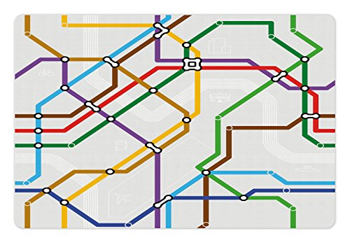 Metro Dog Bed - Ambesonne Map Pet Mat for Food and Water, Stripes in Vibrant Colors Metro Scheme Subway Stations Abstract Railroad Transportation, Rectangle Non-Slip Rubber Mat for Dogs and Cats, Multicolor
