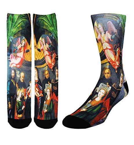 Zmart Men's Crazy Fun Color Athletic Sports Mismatch Crew Cotton Socks,Christ Child,Socks size 9-13 ()