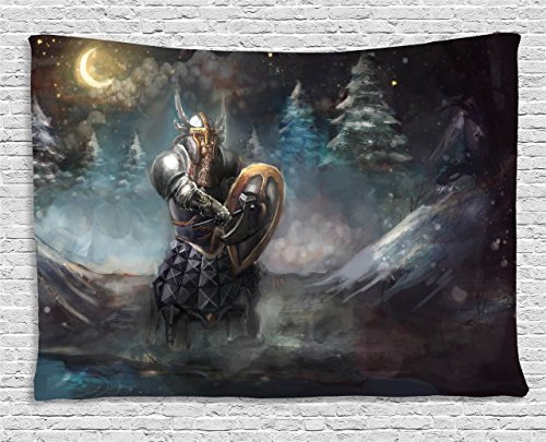 Ambesonne Fantasy Tapestry, Artistic Illustration of Medival Dwarf Knight in Gothic Shield in Mysterious Forest, Wall Hanging for Bedroom Living Room Dorm, 80 W X 60 L Inches, (Artistic Tapestry)