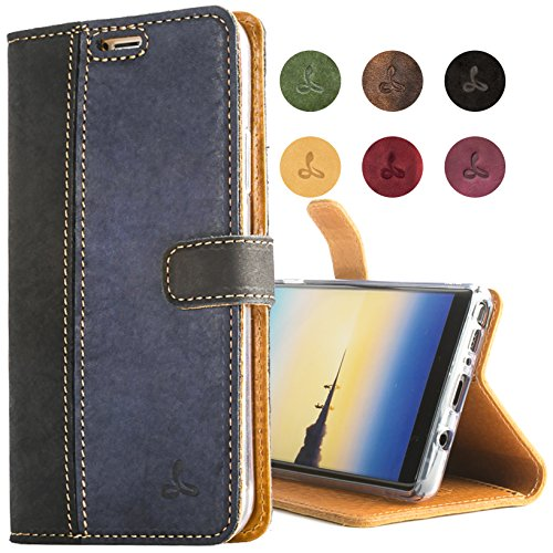 - Samsung Galaxy Note 8, Snakehive Vintage Collection Samsung Galaxy Note 8 Wallet Case in Nubuck Leather with Credit Card/Note Slot for Samsung Galaxy Note 8 (Black and Navy)