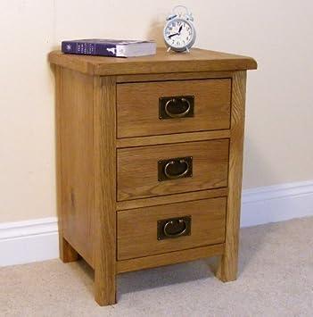 Lanner Oak Bedside Table   3 Drawer Bedside Chest   Oak Bedroom Furniture