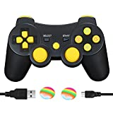 ps3 sixaxis controller - AIRUIDE PS3 Wireless Controller, Double Shock SIXAXIS Gamepad Remote for PlayStation 3, Charging Cable and 2 Thumb Grip Caps Included (Yellow)