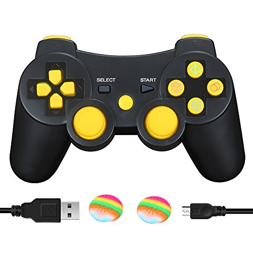 AIRUIDE PS3 Wireless Controller, Double Shock SIXAXIS Gamepad Remote for PlayStation 3, Charging Cable and 2 Thumb Grip Caps Included (Yellow) (Video Game Wireless Sports System)