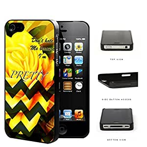 Yellow Rose Flower And Green Chevron Don't Hate Me Script Hard Plastic Snap On Cell Phone Case Apple iPhone 4 4s