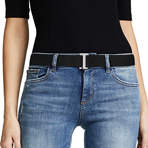 No Show Women Stretch Belt Invisible Elastic Web Strap Belt with Flat Buckle for Jeans Pants Dresses. (Suit for US Size 0-16, 10-Black-yin color buckle)