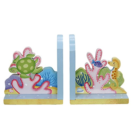 Fantasy Fields - Under the Sea Thematic Set of 2 Wooden Bookends for Kids | Imagination Inspiring Hand Crafted & Hand Painted Details   Non-Toxic, Lead Free Water-based (Baby Sea Turtle Box)