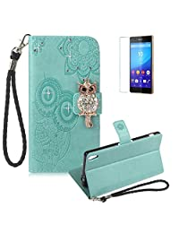 Funyye Light Green Strap Cover for Sony Xperia XA Ultra,Cute 3D Diamond Owl Pattern Design Magnetic Flip Wallet Detachable Glitter Case with Stand Card Holder Slots Cover for Sony Xperia XA Ultra,Anti Scratch Full Body Protective Soft Silicone PU Leather Case for Sony Xperia XA Ultra + 1 x Free Screen Protector