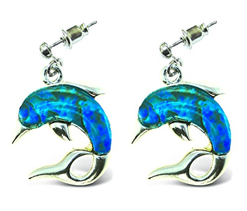 Puzzled Dangle Post - Metal Bullet Dolphin Aqua Jewelry Earrings