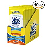 Wet Ones Antibacterial Citrus Scented Hand and Face Wet Wipes, Travel Pack, 20 Count (Pack of 10)