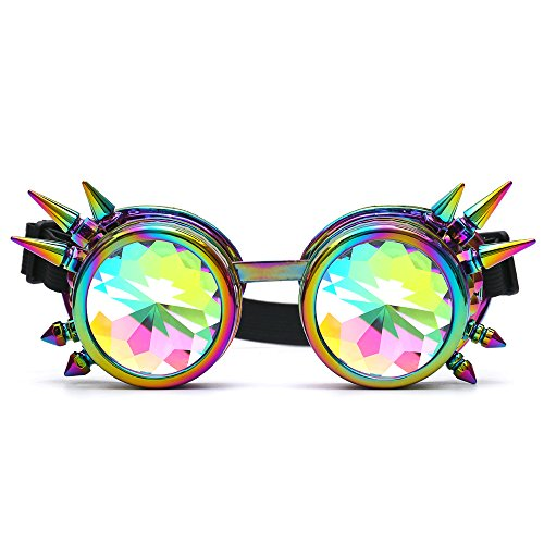 STLY Kaleidoscope Steampunk Goggles Sunglasses With Elastic Band Retro Victorian Gothic Cosplay (One Size, Spikes - Retro Victorian Sunglasses