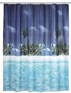 Wenko 19101100 - Cortina de ducha con playa y palmeras de plástico (180 x 200 cm)