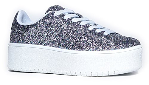 J. Adams Hero Platform Lace Up Sneaker Glitter, 11 B(M) US