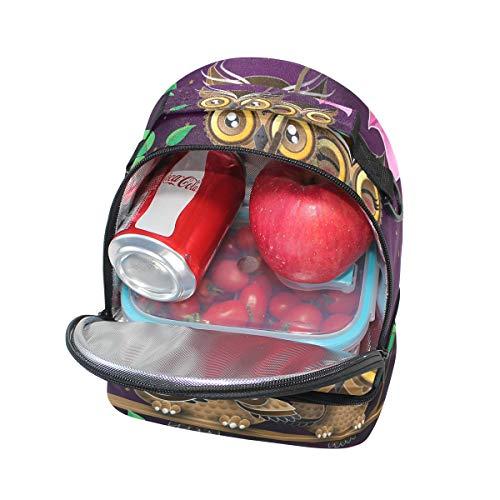 correa de búho con Alinlo Bolsa diseño para el para Valentín térmica San de el almuerzo ajustable hombro Yw17fq1U0