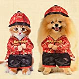 Dogloveit Chinese New Year Style With Hat Costume Clothes For Dog Cat - Red - Medium