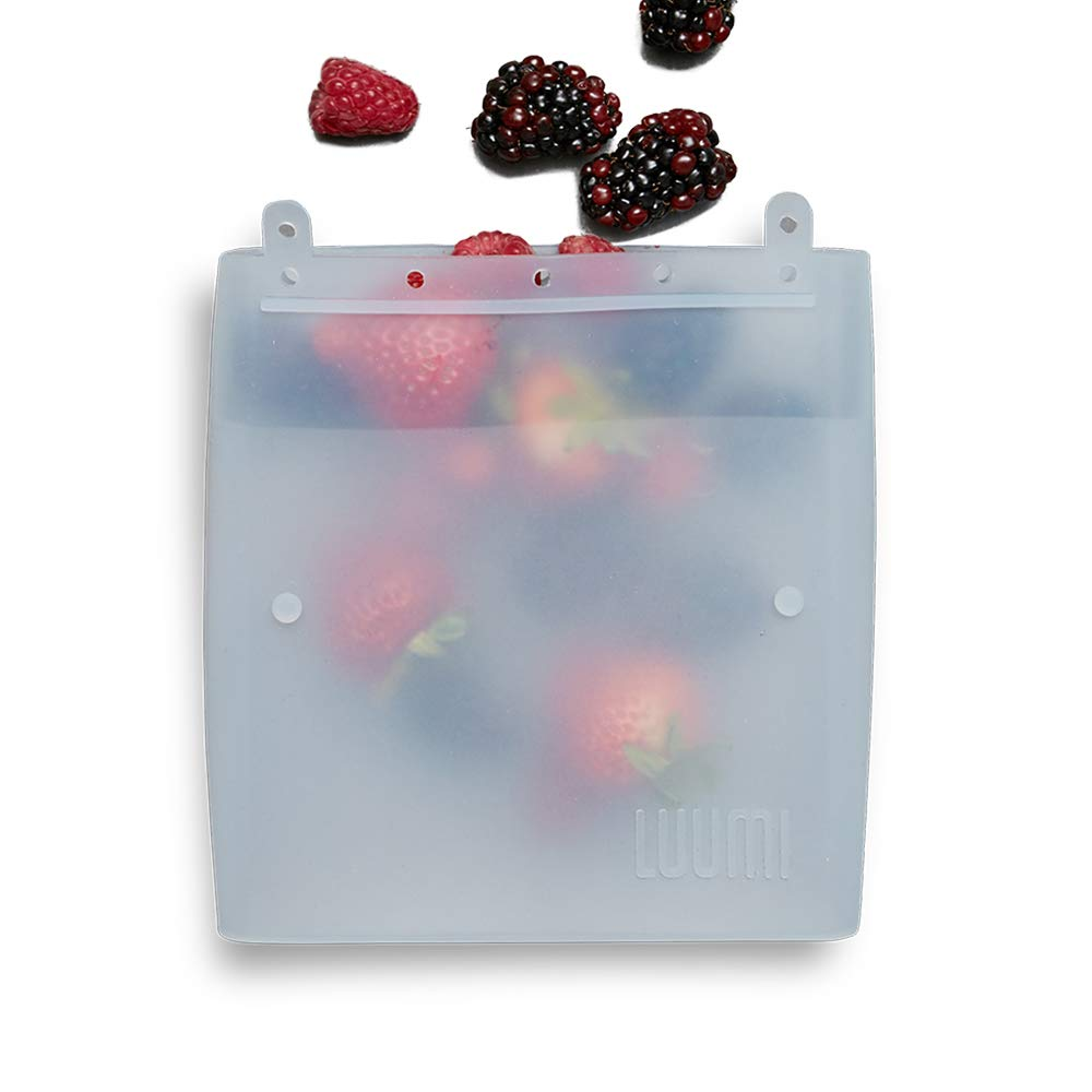 Luumi Unplastic Bag - Resuable 100% Platinum Silicone Collapsible Food Storage Bags for Lunch and Snacks - Microwave, Oven, Freezer and Dishwasher Safe (Clear)