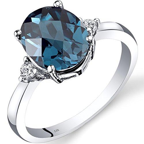14K White Gold London Blue Topaz Diamond Ring 2.75 Carat Oval Cut 14k Gold Caribbean Topaz Ring