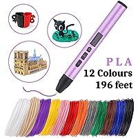 Bolígrafo de impresión 3D con pantalla LED, con filamento PLA de 1.75 mm de 196 pies, bolígrafos 3D para niños y adultos para crear arte, juguetes navideños navideños