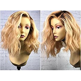 KRN Full Lace Human Hair Wigs African American Wig Ombre Blonde Remy Virgin Straight Hair for Black Women (12 Inch, Full Lace Wig)
