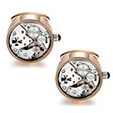 Dich Creat Unisex Rose Gold PVD Stainless Steel Hollow Out Cross Wind-up Working Movement Cufflinks Covered With Glass