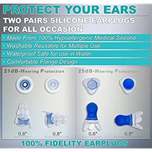 Noise Cancelling Ear Plugs - Best Safety for Professional Musicians - High Fidelity Acoustics for Travel, Sleeping, Swimming, Shooting Motorcycles and Isolate Industrial Sounds (Medium)