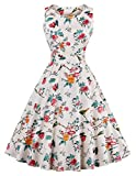 FAIRY COUPLE 50s Vintage Retro Floral Cocktail Swing Party Dress with Bow DRT017(L, Ivory White Floral)
