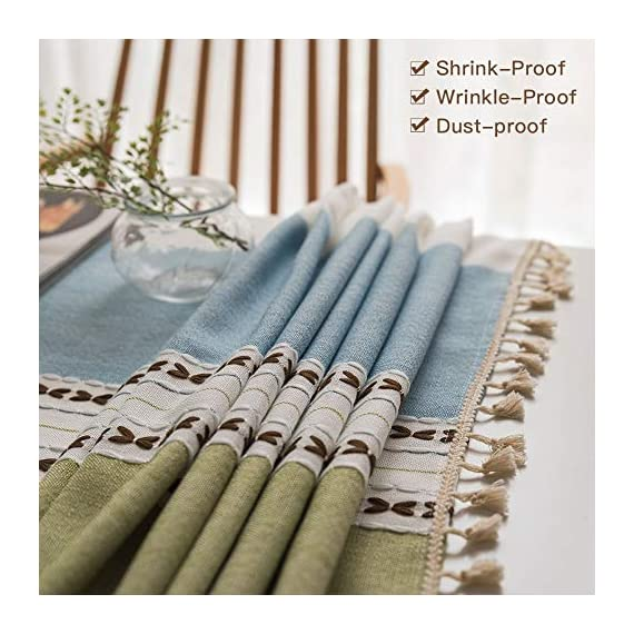 Deep Dream Tablecloths, Stitching Tassel Table Cloth Cotton Linen Wrinkle Free Anti-Fading Table Cover Decoration for Kitchen Dinning Party, 55 x 55 Inch - Blue & Green - 【NON-FADING】: Deep Dream cotton linen tablecloth is dyed with high-quality dyes, which has good dye fixation and is not easy to fade 【ANTI-WRINKLE & ANTI-SHRINK】: This table cloth is made of high quality eco-friendly heavy cotton linen, making it soft and smooth, with exquisite tassels to make your table more beautiful 【EASY TO CARE】: Our table clothes can be hand-washed or gently machine-washed, hand wash best. Tumble dry on low heat or lay flat to dry, very easy to clean, soft and comfortable, no pilling - tablecloths, kitchen-dining-room-table-linens, kitchen-dining-room - 51aez7fasOL. SS570  -