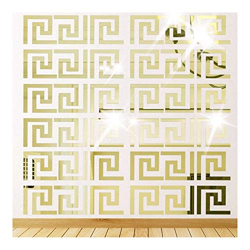 Himerus Mirror Wall Stickers Vintage Greek Key Geometric Pattern Removable Wall Decals - Mirrors Different Bathroom Of Styles
