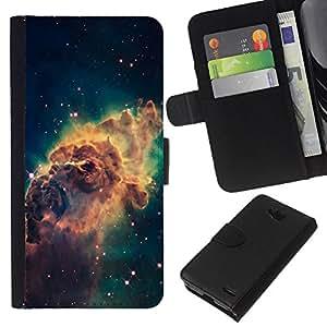 KLONGSHOP // Tirón de la caja Cartera de cuero con ranuras para tarjetas - Galaxy Espacio de Polvo Gas Estrellas Cluster Amarillo - LG OPTIMUS L90 //