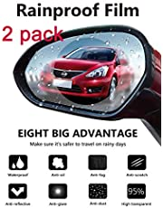 PRETTYGAGA Anti Fog Film Car Rear View Mirror Waterproof Film Protective Film Anti Glare Rain-Proof Anti Water Mist, HD Nano Film Anti-Glare,Anti-Scratch,Rainproof (Pack of 2)