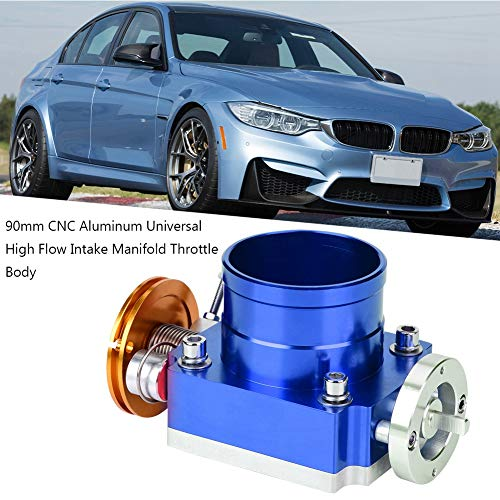 Ejoyous 70mm Universal Throttle Body Assembly CNC Aluminum High Flow Intake Manifold Throttle Body(Blue) ()