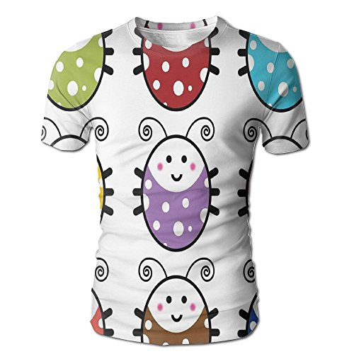 Edgar John Number of Cute Smiling Ladybugs Illustration in Colorful Dot Design Kids Nursery Men's Short Sleeve Tshirt XXL -