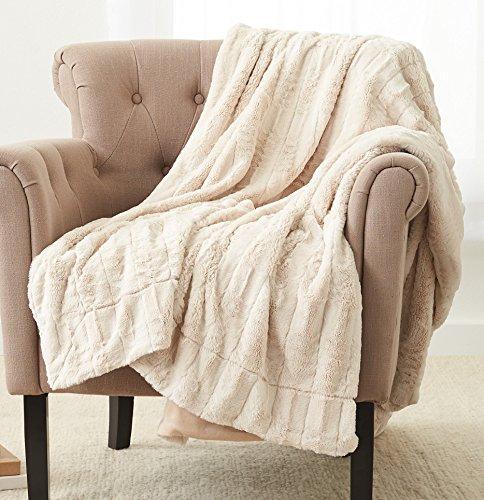 """Pinzon Faux Fur Throw Blanket 50"""" x 60"""", Ivory"""