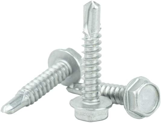 Full Thread 410 Stainless Steel Self Tapping Qty 100 by Bridge Fasteners #14 x 1 Hex Washer Head Self Drilling Screws