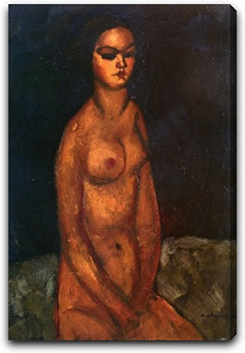 "The Seated Nude by Amedeo Modigliani - 19"" x 28"" Extra Thick 2.5"" Gallery Wrapped Canvas Art Print - Ready to Hang"