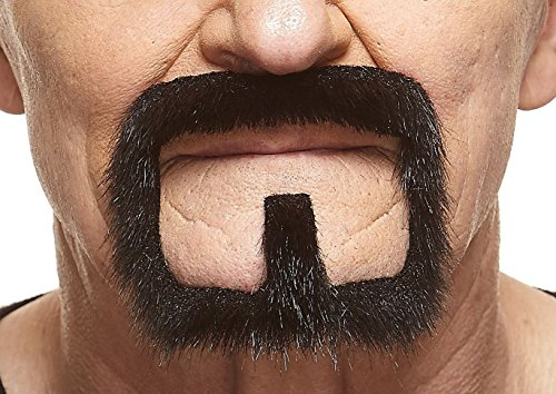 Halloween Costumes Guys With Beards (Mustaches Self Adhesive, Novelty, Van Dyke Fake Beard, False Facial Hair, Costume Accessory for Adults, Black Lustrous)
