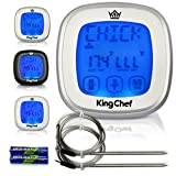 Chef King Barbecue Digital Thermometer with 2 Stainless Steel Probes, Refrigerator Magnets, and Instant Read Cooking - Silver