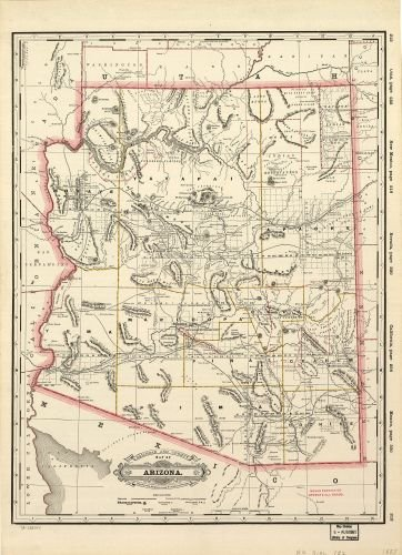Show Map Of Arizona.Amazon Com 1887 Map Railroad And County Map Of Arizona Shows Relief