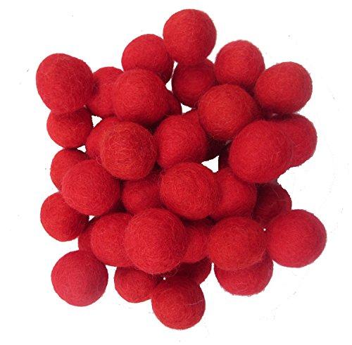 Wool Felt Balls Beads Natural Felting Woolen Felted Fabric Felting for Home Decor Crafts Handcrafts DIY 50pcs 20mm(red)