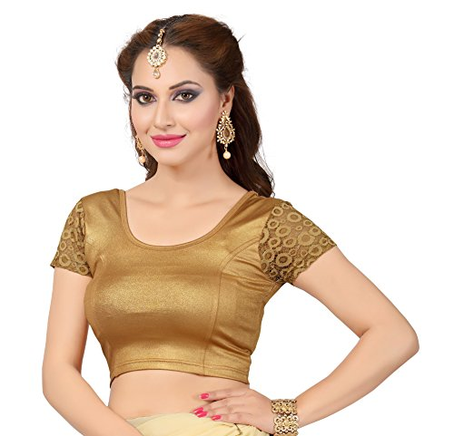 ort Lace Sleeve Lycra Stretchable Blouse GoldFusion XL(44) ()